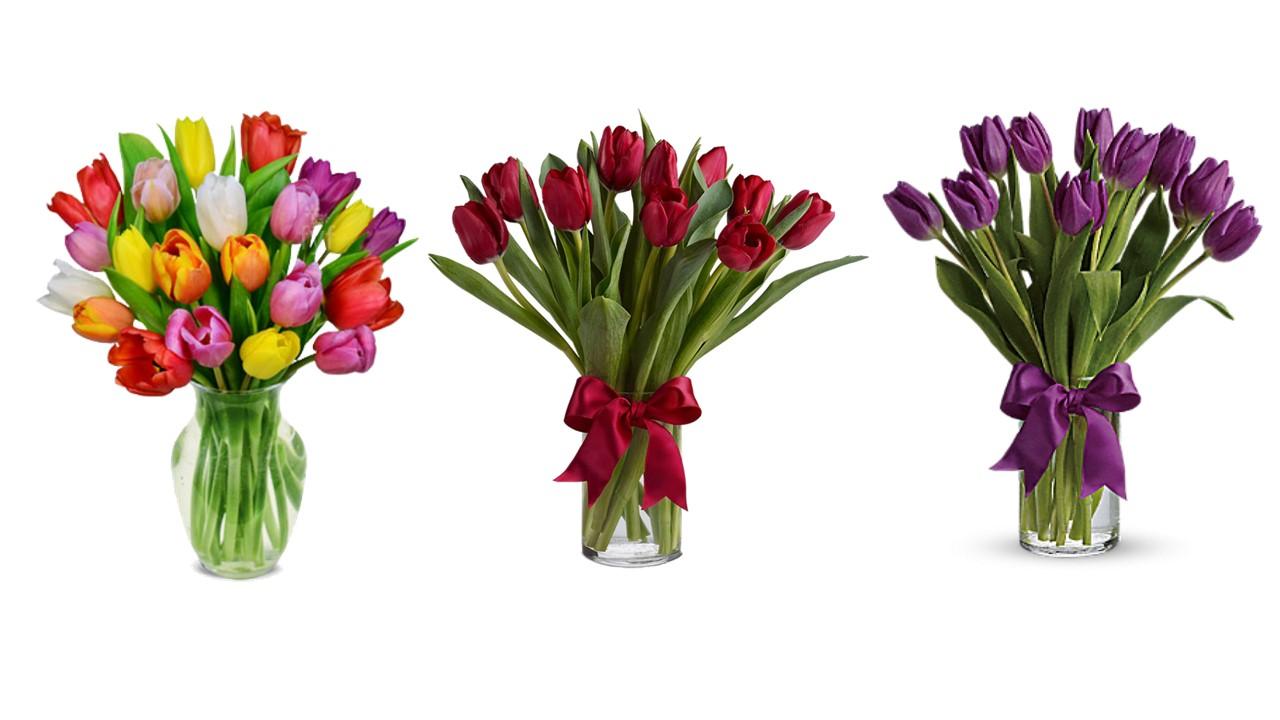 Velikonoční kytice - jarní tulipány